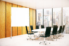 Conference room with blank whiteboard. Modern conference room interior wth blank whiteboard and city view. Mock up, 3D Rendering Stock Photography