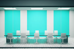Conference room with blue posters. Concrete conference room interior with blank blue posters. Mock up, 3D Rendering Stock Photography