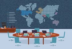 Conference room in business center with dotted world map background. Stock Images