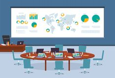 Conference room in business center with infographic world map background. Stock Images