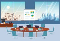 Conference room in business center with oil spill and modern city on the background. Conference room in business center with oil spill and modern city on the Stock Photography