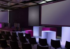 Conference room. With chairs and big screen Royalty Free Stock Photos
