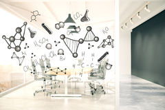 Conference room with chemical formulas Royalty Free Stock Photography