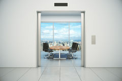Conference room with city view is appeared from the elevator doo Royalty Free Stock Photo