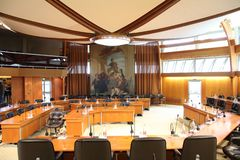 Conference room in the county government offices in Laval, France stock photos