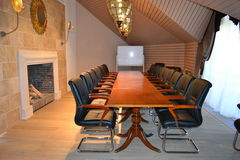 Conference room with fireplace Royalty Free Stock Photo
