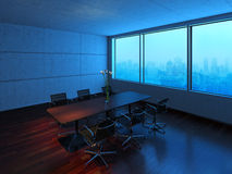 Conference room in fog. 3D rendering of modern conference room with wooden floors. City views, fog and morning light visible though window Stock Photography