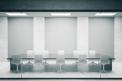 Conference room with grey posters. Concrete conference room interior with blank grey posters. Mock up, 3D Rendering Stock Images