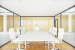 Conference room inside glass box. Modern conference room inside glass box. Contemporary business environment. 3D Rendering Royalty Free Stock Photography