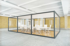 Conference room inside glass box. Modern conference room inside glass box. Contemporary business environment. Side view, 3D Rendering Royalty Free Stock Photography