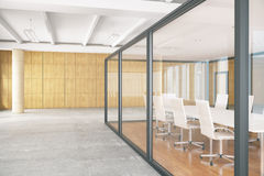 Conference room inside glass box. Side view of conference room inside glass box. Contemporary business environment. 3D Rendering Royalty Free Stock Photography