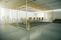 Conference room interior. Creative conference room interior behind glass doors with decorative vases, wooden floor, couch and city view. 3D Rendering Royalty Free Stock Images