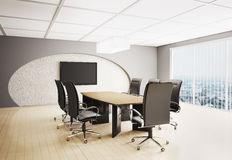 Conference room with lcd  3d Royalty Free Stock Photography