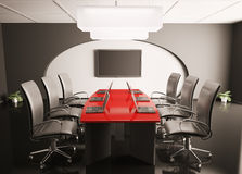 Conference room with lcd and laptops 3d Stock Photos