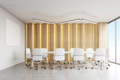 Conference room, light panels and poster Royalty Free Stock Images