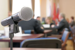 Conference Room Microphone. Stock Photo