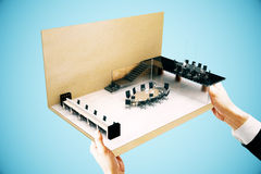 Conference room miniature blue side Royalty Free Stock Photography