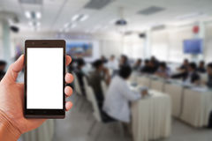 Conference room mobile. Conference room with mobile for background stock photo
