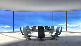 Conference room. Modern office with windows. 3d illustration Stock Image
