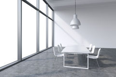 A conference room in a modern panoramic office with whit copy space in the windows. White table, white chairs and two white ceilin Royalty Free Stock Photography