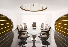Conference room with oval table 3d Royalty Free Stock Photography
