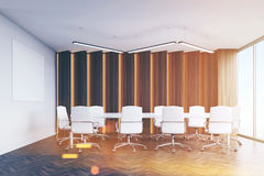 Conference room with panels and poster, toned Royalty Free Stock Photo
