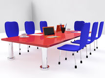 Conference room with red desk and chairs Stock Photos