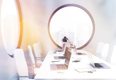 Conference room sideview toning Royalty Free Stock Photo