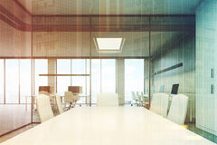Conference room table close up toned Stock Image