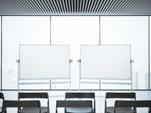 Conference room with two blank whiteboards . 3d rendering. Conference room with two whiteboards . 3d rendering Stock Image