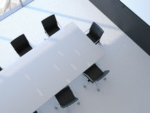 Conference room with white table. 3d rendering. Conference room with white table and black chairs. 3d rendering Royalty Free Stock Images
