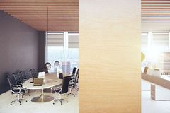 Conference room with wooden board Stock Photos