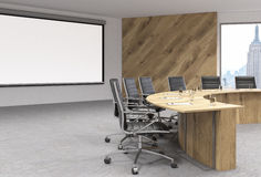 Conference room wooden table Stock Image