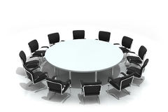 Conference round table and chairs Royalty Free Stock Photos
