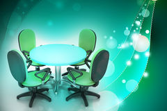 Conference round table and office chairs in meeting room Royalty Free Stock Image