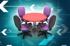 Conference round table and office chairs in meeting room Royalty Free Stock Photos