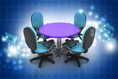 Conference round table and office chairs in meeting room Stock Image