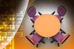 Conference round table and office chairs in meeting room Royalty Free Stock Images
