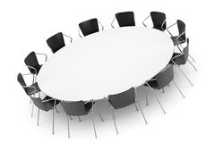 Conference Round Table and Office Chairs Royalty Free Stock Photos