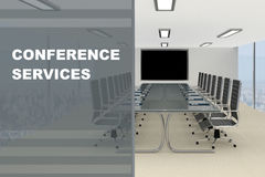 Conference Services concept. 3D illustration of CONFERENCE SERVICES title on a glass compartment Stock Image
