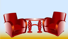 Conference set of two chairs and a coffee table Stock Photo
