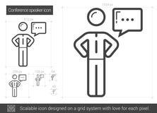 Conference speaker line icon. Stock Photo