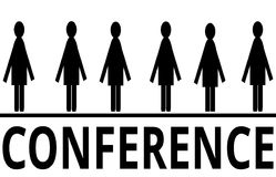 Conference Symbol with Six Figures. A conference symbol with six figures. The illustration is isolated on a white background Stock Photo