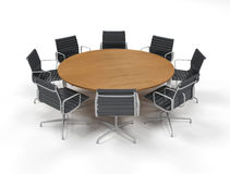 Conference table. Round conference Table and chairs on white - business meeting Stock Photography