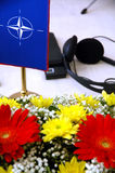 Conference table. With flower decoration Stock Photo