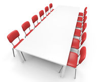 Conference table. White conference table. 3D rendered illustration Stock Images
