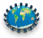 Conference table. With world map - this is a 3d render illustration Stock Photography