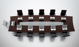 Conference table. 3d render of empty conference room Stock Image