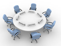 Conference table. 3d conference table - solution,management, marketing, strategy, promovation, planning Royalty Free Stock Photos