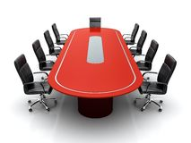 Conference table. 3D render of red conference table with black leather chairs on white background Royalty Free Stock Image